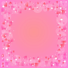 Festive background with hearts on Valentine's day. February 14