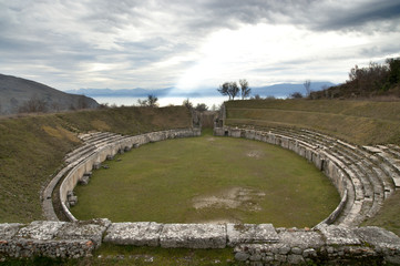 Ancient Roman Amphitheater at Alba Fucens, Italy.