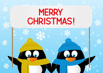 Cute penguins with paper plate