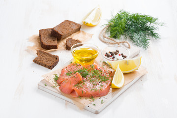 appetizer - salted salmon, bread and ingredients