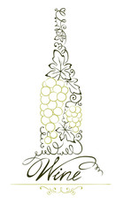 Illustration -- abstract floral white wine bottle