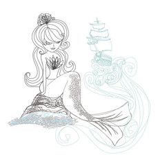 Beautiful mermaid - doodle illustration