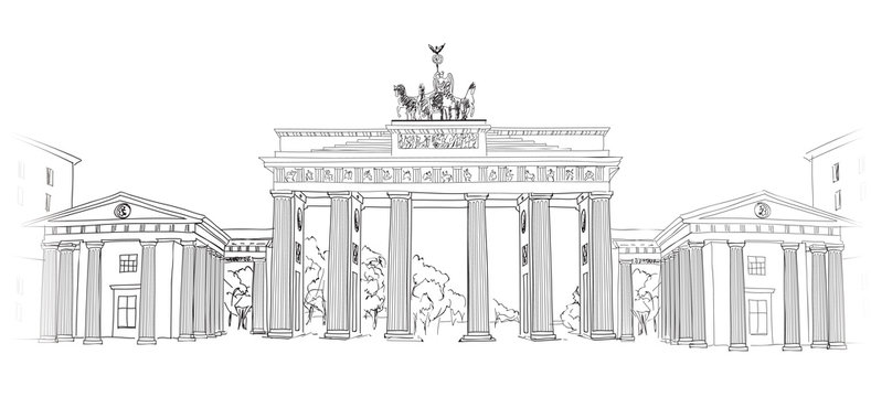 The Brandenburg gate. Berlin arch symbol. Hand drawn pencil sketch vector illustration isolated on white background