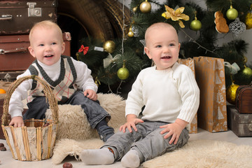 two toddler boys in christmas interior