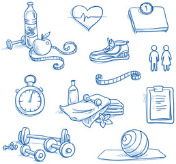 Icon set fitness, with weights, water, hand drawn vector