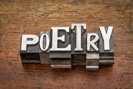 poetry word in metal type