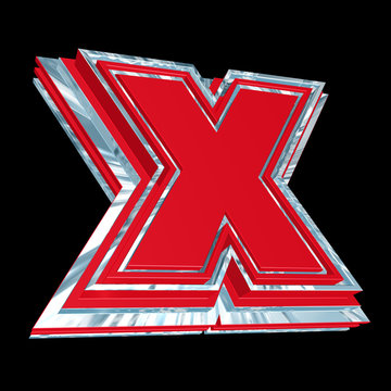 3D shiny X symbol  in red on black