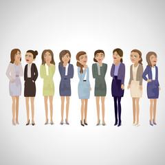 Business Women Thinking - Isolated On Gray Background - Vector Illustration, Graphic Design Editable For Your Design. Business Concept