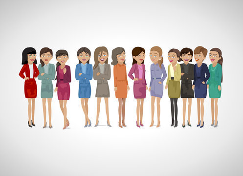 Group Of Business Women - Isolated On Gray Background