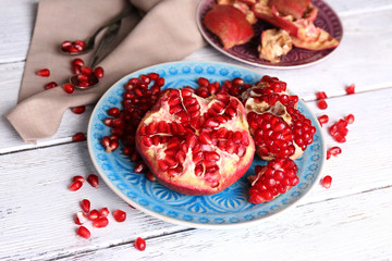 Beautiful composition with juicy  pomegranate seeds,