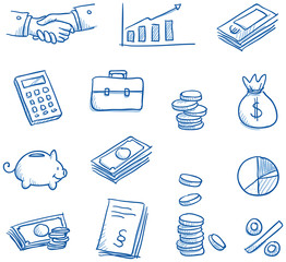 Icon set business & finance with money