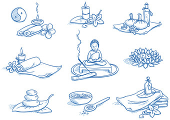 Icon set wellness, spa, meditation, hand drawn doodle
