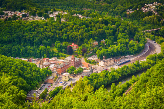 View of Jim Thorpe and the Lehigh River from Flagstaff Mountain,