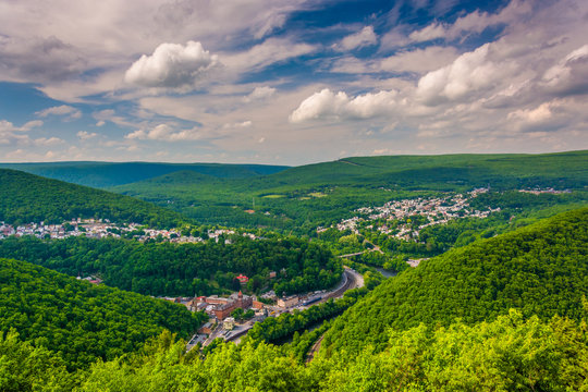View of Jim Thorpe from Flagstaff Mountain, Pennsylvania.