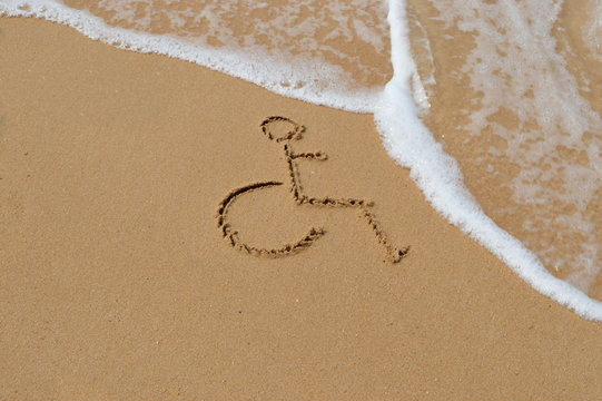 Disabled symbol at the beach