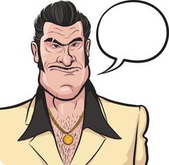 Cartoon mafia man with speech bubble