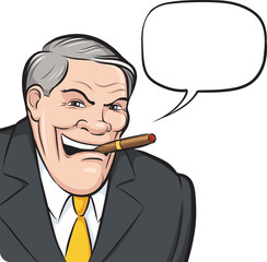 Cartoon boss smoking cigar with speech bubble