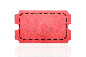 Red ticket isolated on white background.