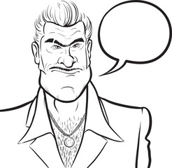 whiteboard drawing - cartoon mafia man with speech bubble