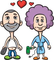 Cartoon avatar love couple husband and wife
