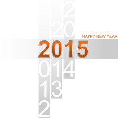 Happy New Year 2015 simple orange