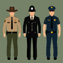 policeman and sheriff uniform, vector police officers people,