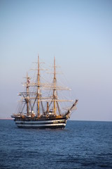 beautiful Italian sailing ship on the high seas