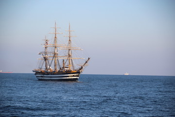 beautiful Italian sailing ship on the high seas