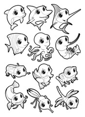 Marine animals and fauna of the pond