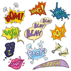 Vector Set of Cartoon Comics Phrases and Effects.