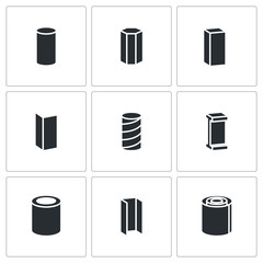 Metallurgy products Vector Icons Set