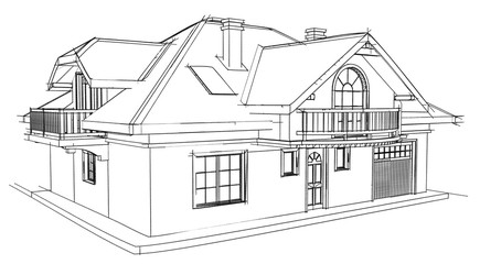 Drawing home on a white background