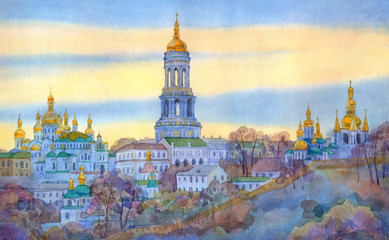 Watercolor cityscape. Monastery on steep hill in winter evening