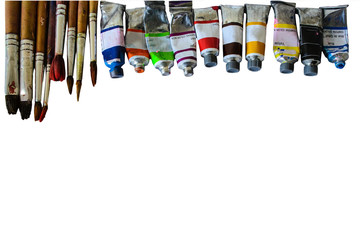 colorful of watercolor tube on white paper background.