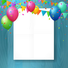empty happy birthday greeting card with balloons.