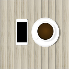 smart phone and hot coffee on wood background