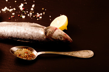 Fresh sea fish lying on dark background with spices.