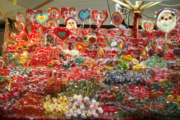 Colorful sweets candies and lollipops at christmas market Cracov
