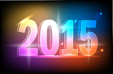 Happy new year 2015 colorful Lights