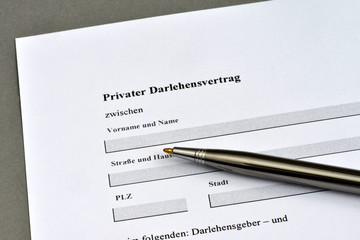 Darlehen, Privatkredit, Schulden, Zinsen, Vertrag, Quittung