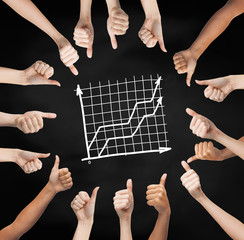 hands showing thumbs up in circle over graph