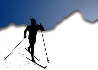 Nieve, esquiador, montaña, ilustración, fondo