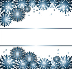 snow flakes with blue ribbons on white texture winter