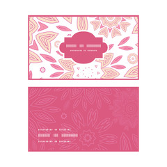 Vector pink abstract flowers horizontal frame pattern business