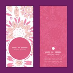 Vector pink abstract flowers vertical round frame pattern