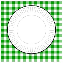 Plate with Green Picnic Tablecloth
