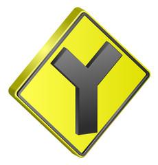 Y street traffic sign