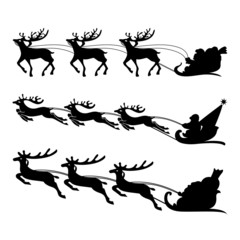 Santa on a sleigh with reindeers vector.