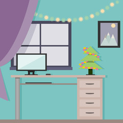 New Year Room in a flat design