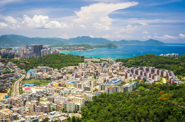 Panoramic view of Sanya city and Dadonghai bay.